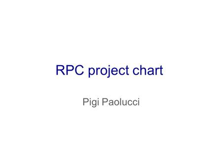 RPC project chart Pigi Paolucci. RPC structure Project Manager1 0 level Deputies - Resource Manager2 0 level Istitution – Editorial – Conference2 0 level.