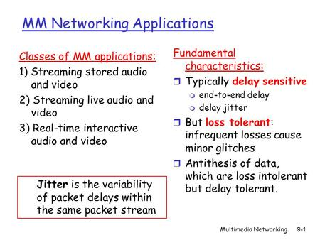 Multimedia Networking9-1 MM Networking Applications Fundamental characteristics: r Typically delay sensitive m end-to-end delay m delay jitter r But loss.