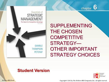 6 chapter Student Version SUPPLEMENTING THE CHOSEN COMPETITIVE STRATEGY— OTHER IMPORTANT STRATEGY CHOICES McGraw-Hill/Irwin Copyright © 2013 by The McGraw-Hill.