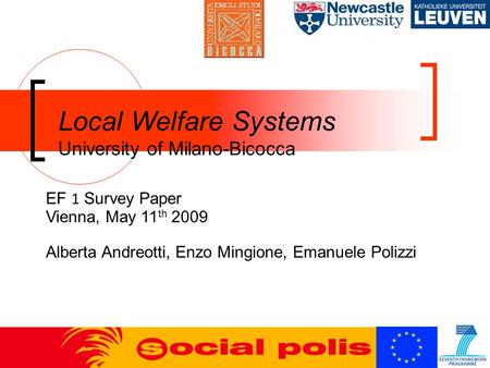 Local Welfare Systems University of Milano-Bicocca EF 1 Survey Paper Vienna, May 11 th 2009 Alberta Andreotti, Enzo Mingione, Emanuele Polizzi.