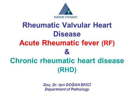 Rheumatic Valvular Heart Disease Acute Rheumatic fever (RF) & Chronic rheumatic heart disease (RHD) Doç. Dr. Işın DOĞAN EKİCİ Department of Pathology.