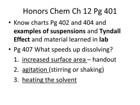 Honors Chem Ch 12 Pg 401 Know charts Pg 402 and 404 and examples of suspensions and Tyndall Effect and material learned in lab Pg 407 What speeds up dissolving?