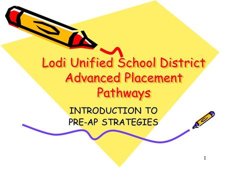 1 Lodi Unified School District Advanced Placement Pathways INTRODUCTION TO PRE-AP STRATEGIES.