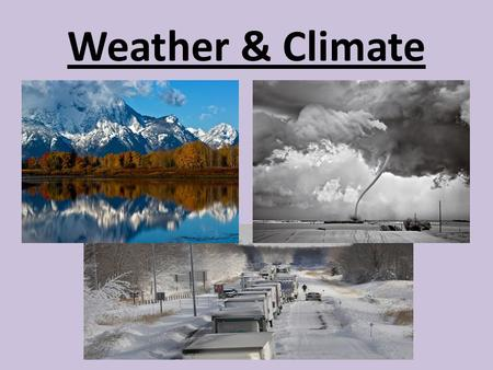Weather & Climate. Benchmark: SC.6.E.7.6 Differentiate between weather and climate.