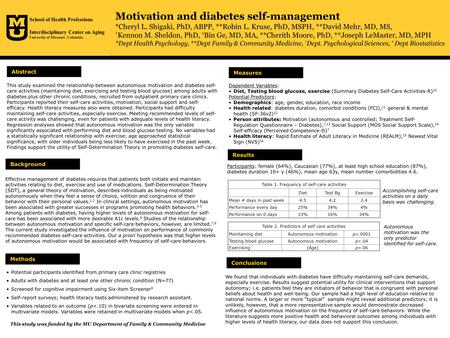 Motivation and diabetes self-management *Cheryl L. Shigaki, PhD, ABPP, **Robin L. Kruse, PhD, MSPH, **David Mehr, MD, MS, † Kennon M. Sheldon, PhD, ‡ Bin.