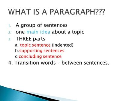 1. A group of sentences 2. one main idea about a topic 3. THREE parts a. topic sentence (indented) b.supporting sentences c.concluding sentence 4. Transition.