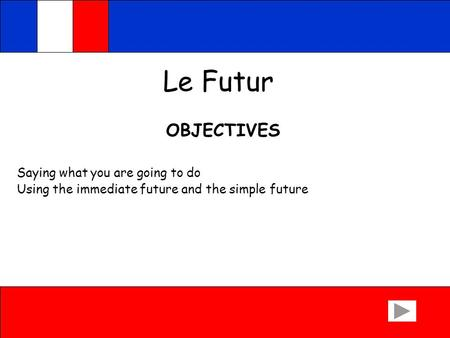 Le Futur OBJECTIVES Saying what you are going to do Using the immediate future and the simple future.