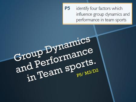 Group Dynamics and Performance in Team sports. P5/ M3/D2.