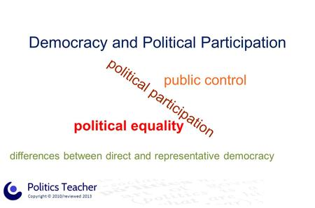 Copyright © 2010/reviewed 2013 Democracy and Political Participation political equality political participation public control differences between direct.