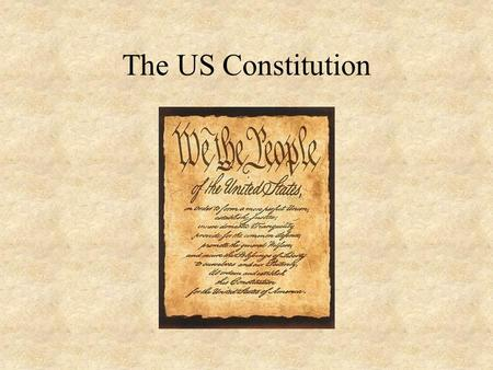 The US Constitution. Definitions A set of rights, powers and procedures which underpin the workings of a political system The rules of the political game.