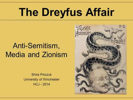 Anti-Semitism, Media and Zionism Shira Pinczuk University of Winchester HCJ - 2014 The Dreyfus Affair.
