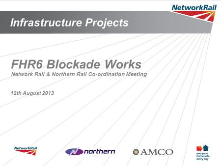Infrastructure Projects 1 FHR6 Blockade Works 12th August 2013 Network Rail & Northern Rail Co-ordination Meeting.