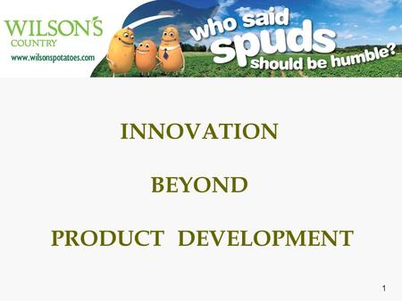1 INNOVATION BEYOND PRODUCT DEVELOPMENT. AGENDA  Wilson's Country  Brief History  Few Milestones  Wilson's Country  The Innovations Beyond Product.
