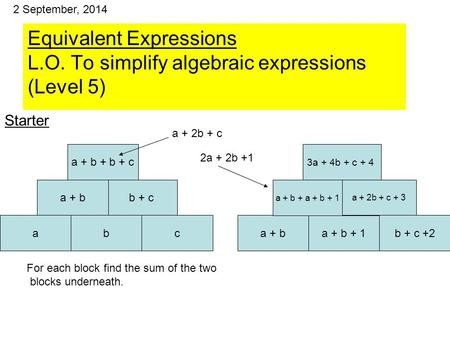 Equivalent Expressions L.O. To simplify algebraic expressions (Level 5) abc a + ba + b + 1b + c +2 For each block find the sum of the two blocks underneath.