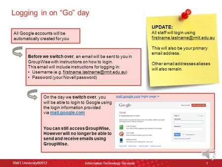 "Logging in on ""Go"" day RMIT University©2012 Information Technology Services 1 Before we switch over, an email will be sent to you in GroupWise with instructions."