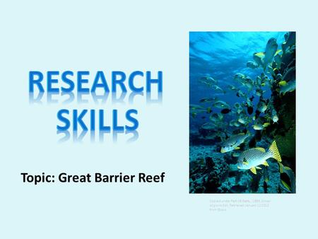 Topic: Great Barrier Reef Copied under Part VB Getty, 1999, School of grunt fish, Retrieved; January 12 2012 from Ebsco.