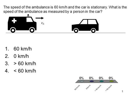 1 The speed of the ambulance is 60 km/h and the car is stationary. What is the speed of the ambulance as measured by a person in the car? vAvA 1.60 km/h.