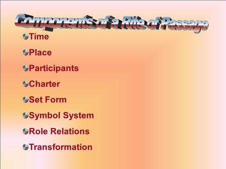 Time Place Participants Charter Set Form Symbol System Role Relations Transformation.