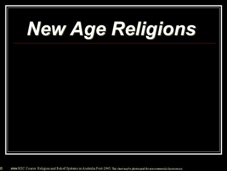 New Age Religions. From the 1970's onwards there has been an increase in 'New Age' Religions in Australia. This has been due to a failure of the established.