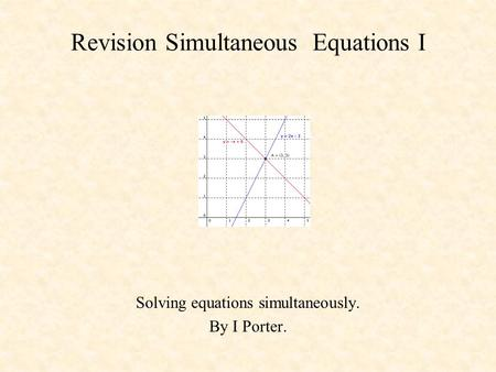 Revision Simultaneous Equations I Solving equations simultaneously. By I Porter.