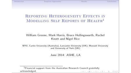 Inflated Responses in Self-Assessed Health Mark Harris Department of Economics, Curtin University Bruce Hollingsworth Department of Economics,