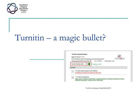 Turnitin – a magic bullet? Turnitin screencap (Subterfu9e 2007)
