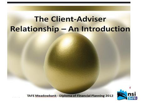 TAFE Meadowbank - Diploma of Financial Planning 2012 Introduction A vast amount of DATA is available to your clients, but an adviser need to use their.