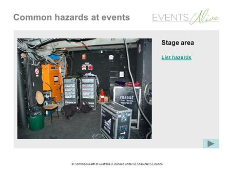 © Commonwealth of Australia | Licensed under AEShareNet S Licence Common hazards at events Stage area List hazards.