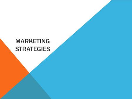 MARKETING STRATEGIES. LEARNING INTENTIONS Students will be able to:  Describe the 'Product' stage of the '4 Ps' of marketing and evaluate current products.