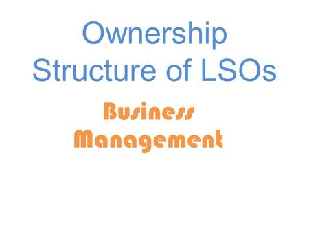 Ownership Structure of LSOs Business Management. LSO's Definition Characteristics (how to identify them) How to distinguish between various kinds of LSO's.