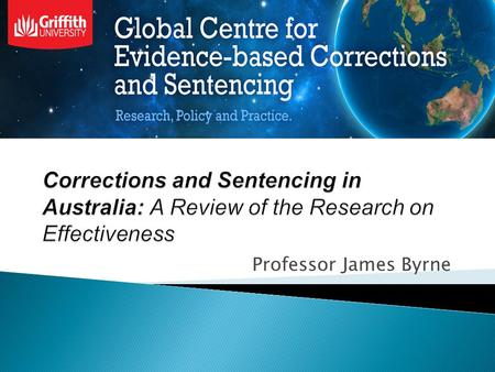 Professor James Byrne.  (1) High Quality Corrections and Sentencing Research Agenda- the Centre will develop research projects focusing on evaluating.