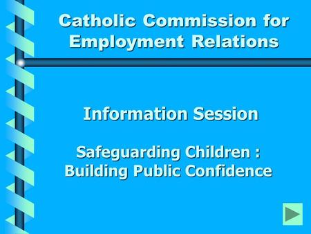 Information Session Safeguarding Children : Building Public Confidence Information Session Safeguarding Children : Building Public Confidence Catholic.
