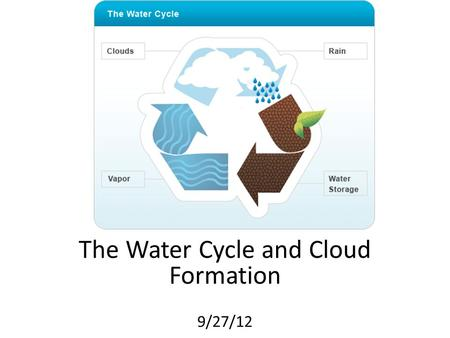 The Water Cycle and Cloud Formation 9/27/12. Water is ALWAYS in the atmosphere! Earth's water is mostly found in the oceans, but it is also found in lakes,