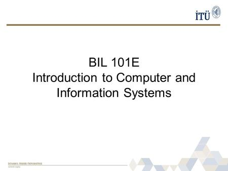 BIL 101E Introduction to Computer and Information Systems.