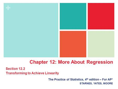 + The Practice of Statistics, 4 th edition – For AP* STARNES, YATES, MOORE Chapter 12: More About Regression Section 12.2 Transforming to Achieve Linearity.