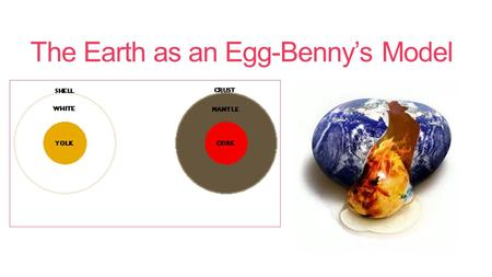 The Earth as an Egg-Benny's Model. Strengths? 1.Includes major layers-crust, mantle and core. 2.Includes movement of plates-plate tectonics. 3.Simple.