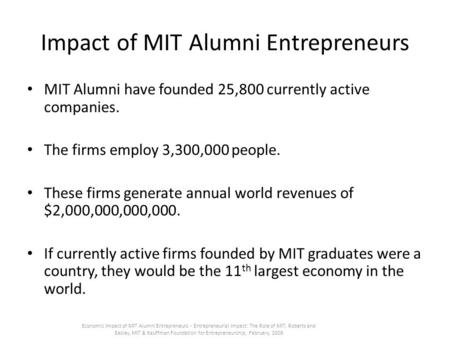 Impact of MIT Alumni Entrepreneurs MIT Alumni have founded 25,800 currently active companies. The firms employ 3,300,000 people. These firms generate annual.