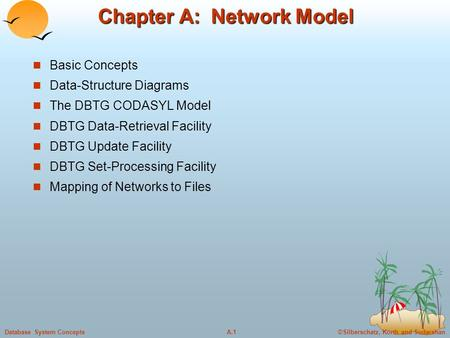 ©Silberschatz, Korth and SudarshanA.1Database System Concepts Chapter A: Network Model Basic Concepts Data-Structure Diagrams The DBTG CODASYL Model DBTG.