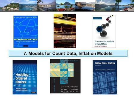 7. Models for Count Data, Inflation Models. Models for Count Data.