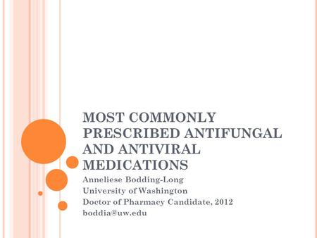MOST COMMONLY PRESCRIBED ANTIFUNGAL AND ANTIVIRAL MEDICATIONS Anneliese Bodding-Long University of Washington Doctor of Pharmacy Candidate, 2012