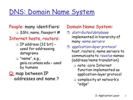 2: Application Layer1 DNS: Domain Name System People: many identifiers: m SSN, name, Passport # Internet hosts, routers: m IP address (32 bit) - used for.