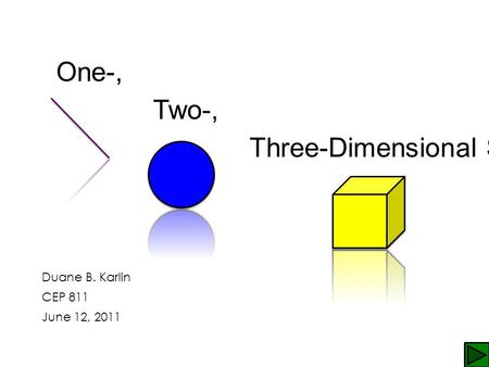 One-, Two-, Three-Dimensional Shapes Duane B. Karlin CEP 811 June 12, 2011.