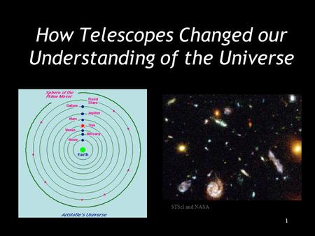 1 How Telescopes Changed our Understanding of the Universe STScI and NASA.
