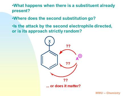 WWU -- Chemistry What happens when there is a substituent already present? Where does the second substitution go? Is the attack by the second electrophile.