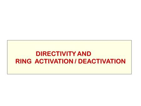 DIRECTIVITY AND RING ACTIVATION / DEACTIVATION.