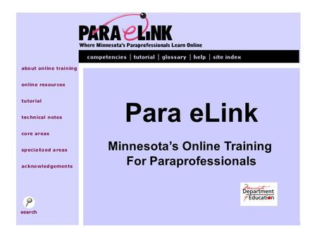 Para eLink Minnesota's Online Training For Paraprofessionals.