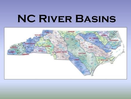 NC River Basins. A drainage basin is the land that water flows across or under on its way to a river In NC all water is sent to the Atlantic Ocean, Gulf.