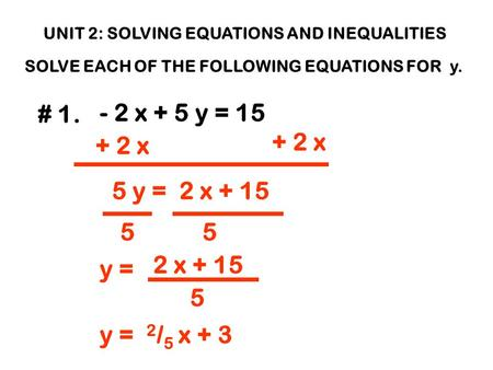 UNIT 2: SOLVING EQUATIONS AND INEQUALITIES SOLVE EACH OF THE FOLLOWING EQUATIONS FOR y. # 1. - 2 x + 5 y = 15 + 2 x 5 y = 2 x + 15 55 y = 2 x + 15 5 y.