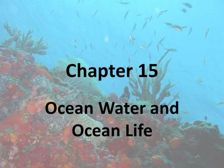 Chapter 15 Ocean Water and Ocean Life. Section 15.1 The Composition of Seawater.
