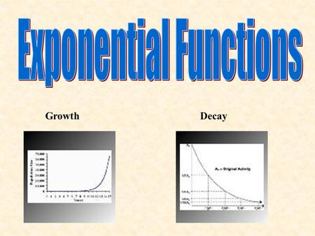 GrowthDecay. Exponential function – A of the form y=ab x Step 1 – Make a table of values for the function.